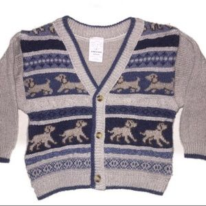 Boy's Dog Cardigan Sweater Size 18m.